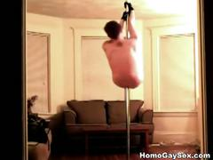 Pole dancing dude strips naked