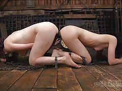 lesbians, barn, sucking dildo, in chains, ass to ass, double ended dildo, sex slaves, real time bondage, elise graves, dixon mason