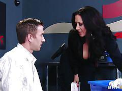milf, big cock, uniform, blowjob, big boobs, work, brunette, big tits in uniform, brazzers network, jayden jaymes, danny d