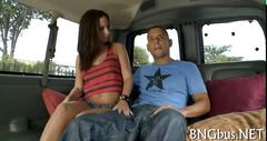 Brunette chick fucking on the bang bus
