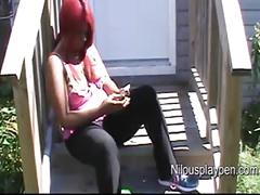 Nilou achtland-downblouse smoking on porch #1