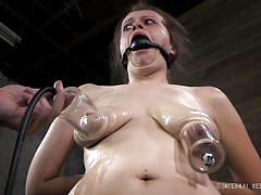 milf, bdsm, saggy tits, oiled, brunette, tit torture, tied hands, suckers, ball gagged, infernal restraints, nadia white