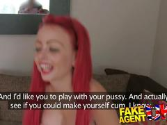 Fakeagentuk cute redhead gets a face full of cum