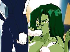 big tits, hentai, cartoon, muscled, superheroine, pussy eating, position 69, green hair, nipple licking, she hulk, drawn hentai