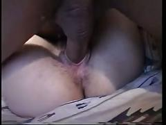 He shaves her hairy cunt after he fucks her