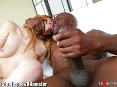 11 inch black cock deep in redhead