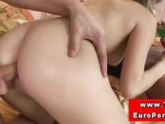 Horny amateur bitch handles double penetration