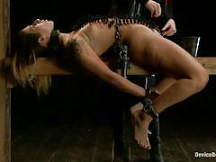 Brunette chained and punished