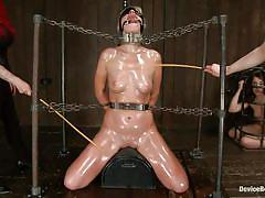 blonde, bondage, bdsm, blindfolded, oiled body, in chains, bastonnade, rodeo sex machine, restraints, device bondage, kink, tara lynn foxx, mz berlin, elizabeth thorn