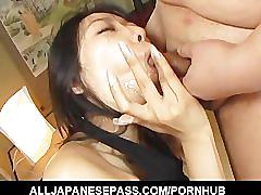 Chris ozawa has her shaved pussy toyed by horny guys