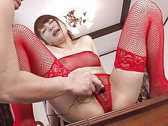 Japanese babe in red pantyhose ejaculates