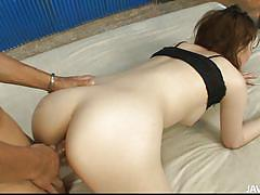 Japanese cutie moans as she get fucked