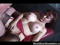 Big breasted mommy licked and nailed on her cunt