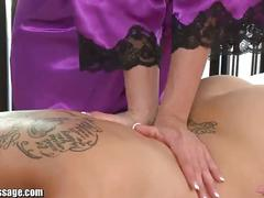 Girl on girl massage has a happy ending