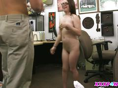 Cute little nerd girl pounded on an office desk