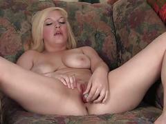 Smiling blondie melody masturbating her pussy