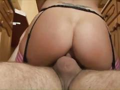 Sexy milf gets her holes fucked in the kitchen