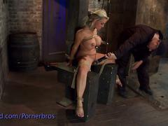 Blonde teased and tortured in the dungeon
