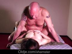Young babe big tits fucking old man and swallowing cum
