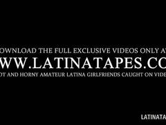 Cute latina schoolgirl playing sex games in bed