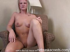 Another young innocent blonde amateur stripping down for the first time ever