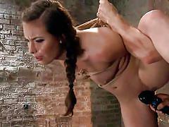 milf, bondage, bdsm, hanging, vibrator, brunette, moaning, tied up, ropes, ponytail, hogtied, kink, casey calvert