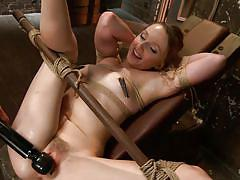 milf, bondage, bdsm, vibrator, brunette, tied up, ropes, wooden bar, hogtied, kink, danielle delaunay, molly o'dell