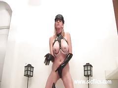 Busty blond milf fucking gigantic dildos