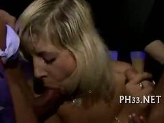 Blonde cute waiter fucks everyone
