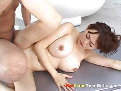 Hairy asian cunt soapy fuck