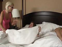 Mature lady sucks her daughter's husband