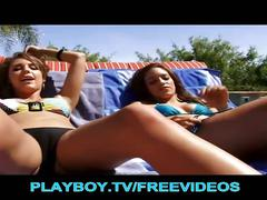 Sexy playboy brunettes go lesbo by the poolside