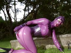 fetish, solo, toys, outdoor, hd, dildo, garden, latex, masturbation