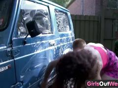 Girls out west - alexx & rosie in car wash scene