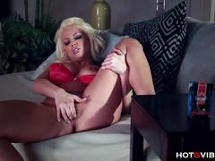 Busty blonde bedtime orgasm