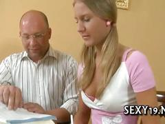 Babe is hungry for teacher's penis