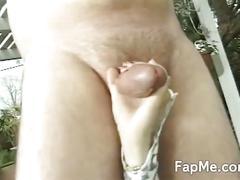 Sexy redhead swallows and sucks a cock