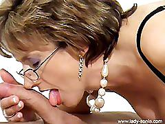 kinky, kink, hand-job, blow-job, cumshot, heels, high-heels, fishnets, lady-sonia, british, fake-tits, glasses, huge-tits, mature
