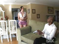 Fit ebony gets banged hard