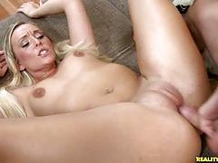 Blonde babe with long hairs sucking and ridding.