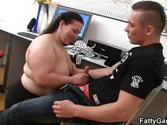 Fatty fucks in the office floor
