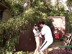 Tiny jap teen gets a big cock between her legs.
