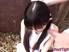Tiny jap teen gets a big cock between her legs.