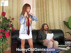 Naughty alice inviting the old guy for a quickie