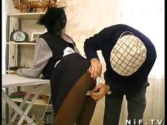 Sexy ebony maid fucked hard in threesome sex
