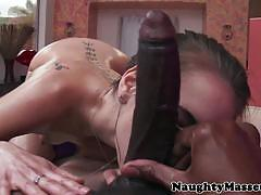 Riley reid pleasing her masseur's big black cock.