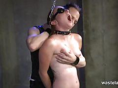 Cute slave girl gets a big toy between her legs.