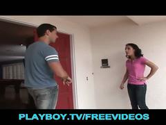 The pizza guy fucks hot brunette teen
