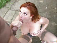 Hot redhead tarra white gets banged in the garden