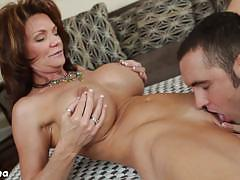 Busty brunette milf deauxma gets her cunt licked